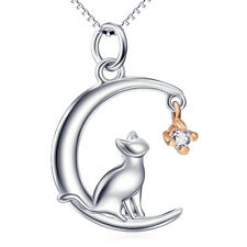 "18""Lovely Cat on Crescent Moon Star Necklace 925 Sterling Silver Gems CZ Pendant"