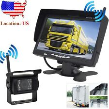 "12-24V Wireless 7"" LCD Monitor Reversing Kit +Bus Truck Trailer IR Backup Camera"