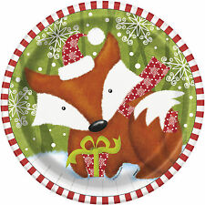 Pack of 8 Christmas Woodland Friends Paper Plates - 23cm - Xmas Party Tableware