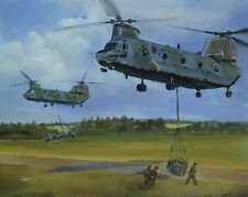 Boeing Chinook RAF Helicopter Painting Aviation Art Print - 18 Squadron