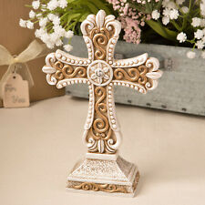 1 Antique Vintage Cross Statue Wedding Favor Table Decor Cake Topper Christmas
