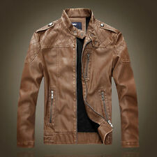 2016 Winter Mens Casual Slim PU Leather Motorcycle Jackets Coat Overcoat Outwear
