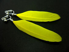 A PAIR OF LONG YELLOW FEATHER  DANGLY CLIP ON  EARRINGS.