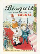 1959 Bisquit Cognac Vintage BottleVintage Paris Scene ART PRINT AD
