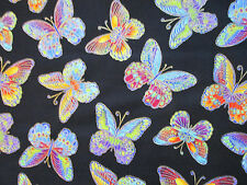 Butterfly Glitter Black Butterflies Cotton Fabric FQ