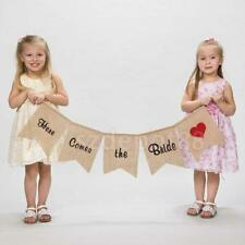 Hessian Burlap Here Comes The Bride Bunting Sign Rustic Wedding Party Banner