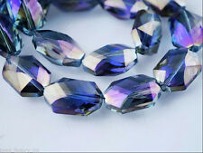 5pcs Purple Colorized Glass Crystal Oval Hexagon Beads 18x12mm DIY Findings
