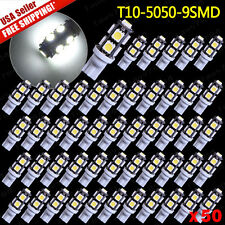 50X NEW Car Super Bright White T10 9-SMD 5050 LED Lights Bulbs - W5W 194 921 912