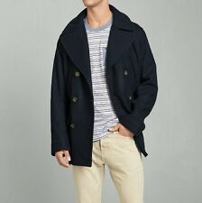 Abercrombie & Fitch Men's Large men's Classic Wool Peacoat Jacket Coat Navy