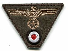 WWII German Heer Cap Trap Eagle Iron Cross Tan on Field Grey Wool Patch