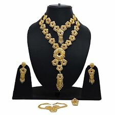Indian Ethnic Bollywood Gold Plated Necklace Set Bridesmaid Traditional Jewelry