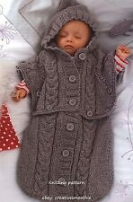(4) Knitting Pattern for Baby Sleeping Bag - Converts to Hooded Poncho, 0-6M