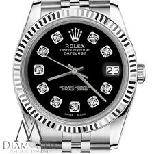 Mens Rolex 36mm Datejust Black Dial with Diamond Accent Watch