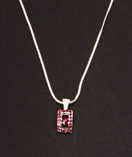 MODERN REGAL SILVER METAL NECKLACE W. PURPLE DIAMANTE TOKEN 5CM ADJUSTABLE(ZX40)