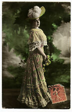 c 1907 French Glamour FASHION BEAUTY antique tinted photo postcard
