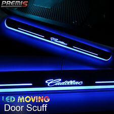 2x LED Moving Welcome Light Door Sill Scuff Plate Step Pedal For Cadillac XT5 17