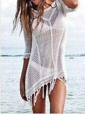 Sexy Strandkleid in Häkeloptik weiß transparent mit Fransen beachdress white
