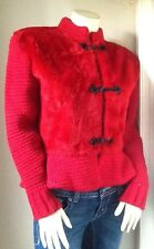 Tapis Rouge Paris Chaumiere-aur Tricot Faux Fur Knit Coat 1980s French Fashion M