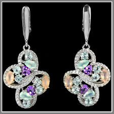 GENUINE MULTI COLOR AMETHYST CHALCEDONY TOPAZ & CZ STERLING 925 SILVER EARRING