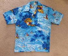 VTG Big Sur 70s Hawaiian Print Mens Blue S/S Polo Shirt M Polyester Skate Surf