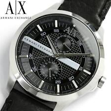 new + box men's ARMANI EXCHANGE AX2120 Black Leather Band Fashion A/X WATCH