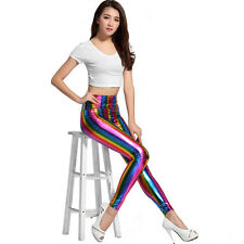 Women's Rainbow Striped Leggings Skinny Pants High Waist Jeggings Tight Trousers