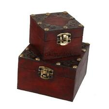 Vintage Small Metal Lock Jewelry Treasure Chest Case Handmade Wooden Box