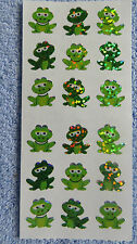 "Sandylion FROGS, SMALL Strip of 2 Sqs Prismatic 1/2"" RETIRED Stickers RARE"