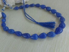 TOP EXCELLENT 467 CTS NATURAL BLUE SAPPHIRE Gemstone PEAR CARVED BEADS NECKLACE