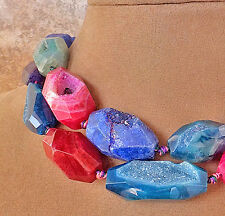 RAINBOW DRUZY AGATE CANDY FUN COLORS DOUBLE STRAND STATEMENT NECKLACE PINK BLUE