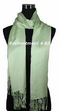 Handmade 100% 2Ply Pashmina Cashmere Bridal Scarf Shawl Wrap XL Leaf Green Solid