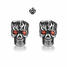 Silver studs red swarovski crystal stainless steel gothic skull earrings