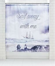 Sail Away Boat Ship Nautical Luxe Sea Ocean Shower Curtain Modern 180x180cm