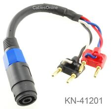 1ft Two Dual Banana Plugs to Speakon Female Speaker/Amplifier 12AWG Jumper Cable