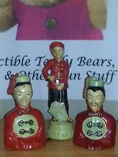 Three Mid-Century Chalk Ware Chinese Bookends/Figurines