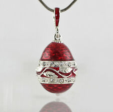 Jewelry Egg Pendant w Leaf Crown 925 Silver Red Enamel Necklace Christmas Gift