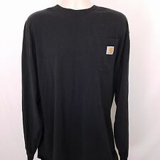Carhartt Work T-Shirt Men's 2XLT XXL Tall Black Cotton Long Sleeve Original Fit