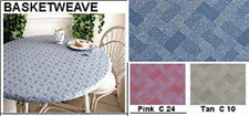 "Elastic Edge Round Fitted Vinyl Tablecloth fit 36"" to 48"" Pink/White Basketweave"