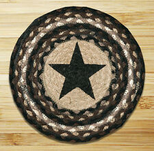 """BLACK STAR 100% Natural Braided Jute Swatch, 10"""" Trivet/Placemat, by Earth Rugs"""