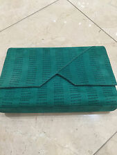 Preowned Gianni Versace Green Suede Clutch, Evening bag!!! RAQSZK