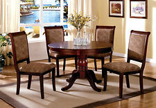 Contemporary Dining Room 5pc Set Round Dining Table Fabric Chairs Antique Cherry