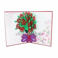 3D Pop Up Rose Flower Greeting Card Creative Love Romantic With Envelope 2017