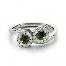 1.24 Cts Green VS2-SI1 2 Stone Diamond Solitaire Engagement Ring 14k White Gold