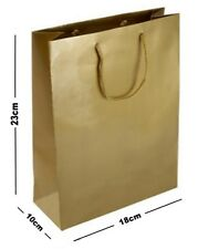 10 GOLD MATT LAMINATED PARTY GIFT BAGS - CHRISTMAS BIRTHDAY MEDIUM PRESENT BAG