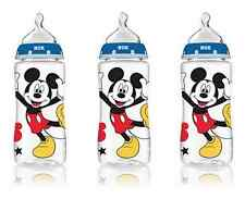 NUK Mickey Mouse 3pk Baby Boy Bottles Orthodontic Wide Neck Perfect Fit 0M+