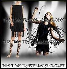 Topshop Kate Moss 20s Black Tassel Fringe Dress Gatsby Flapper UK 8 10 BNWT £95