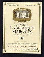 MARGAUX VIEILLE ETIQUETTE CHATEAU LABEGORCE 1973 73 CL RARE    §18/01/17§