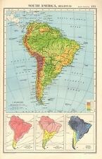 1952 MAP ~ SOUTH AMERICA PHYSICL ~ ANNUAL RAINFALL TEMPERATURE ~