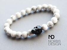 Men White Howlite Skull Bracelet with Swarovski Crystal 7-8inch Elasticated