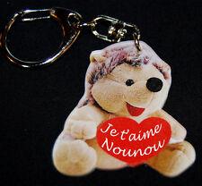 """Porte-clés herisson message """"Je t'aime Nounou"""" baptême, anniversaire"""